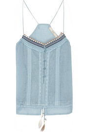 Embroidered crinkled cotton and silk-blend top