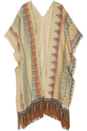 Embroidered silk-blend poncho