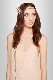 Janice gold-tone, freshwater pearl and leather headpiece