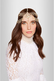 Odalisca gold-tone freshwater pearl headpiece