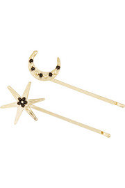 Gold-tone cubic zirconia hair slides