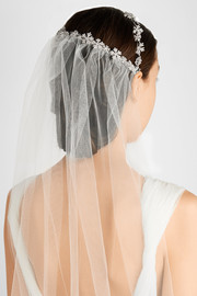 Queen Anne's Swarovski crystal-embellished coronet and tulle veil