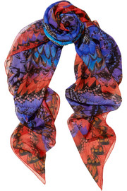 Rainbow Wings silk-chiffon scarf