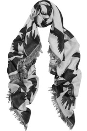 Batbird printed wool and silk-blend scarf