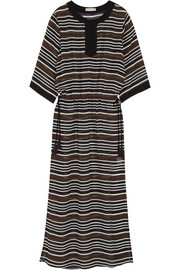 Striped silk-georgette kaftan