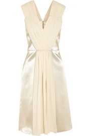 Georgette-paneled silk-satin dress