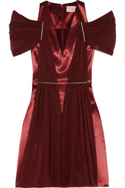 Chiffon-paneled satin dress