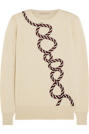 Embroidered cashmere and silk-blend sweater