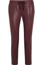 Coated-jersey tapered pants