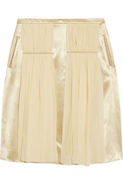 Chiffon-paneled satin skirt