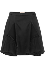 Tulle-paneled satin mini skirt