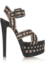Laser-cut leather and suede platform sandals