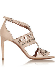 Laser-cut patent-leather and suede sandals