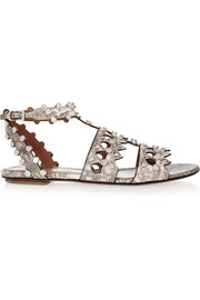 Studded laser-cut lizard sandals