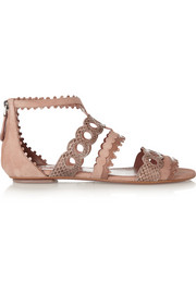 Laser-cut patent-leather, snake and suede sandals