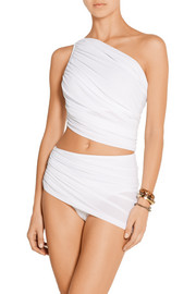 Norma Kamali Diana draped one-shoulder bikini top