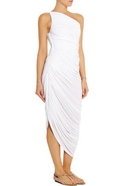 Norma Kamali Diana asymmetric ruched stretch-chiffon dress