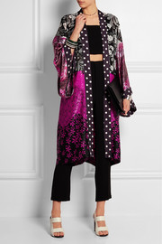 Printed georgette and satin kimono
