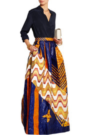 Printed cotton-poplin and silk-jacquard maxi skirt
