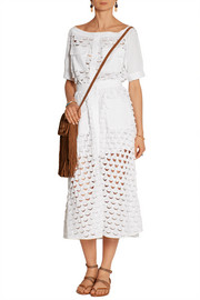 Eolienne broderie anglaise cotton midi skirt