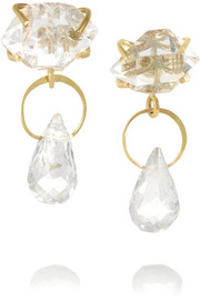14-karat gold, Herkimer diamond and topaz earrings
