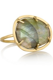 14-karat gold labradorite ring