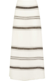 Lefkes striped textured silk-blend maxi skirt