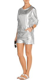 Norma Kamali Metallic cotton-blend sweatshirt