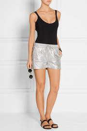 Norma Kamali Metallic cotton-blend shorts
