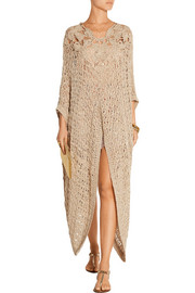 Embellished crocheted kaftan