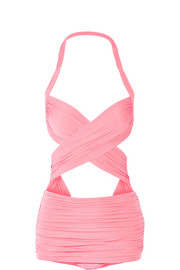 XO Bill Mio ruched cutout swimsuit