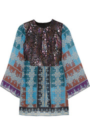 Metallic jacquard and printed chiffon tunic