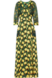 Floral-print crepe and silk-chiffon maxi dress