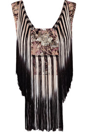 Anna Sui Fringed floral-print georgette top