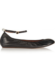 Lanvin Faux pearl-embellished leather ballet flats