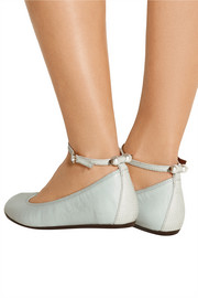 Faux pearl-embellished leather ballet flats