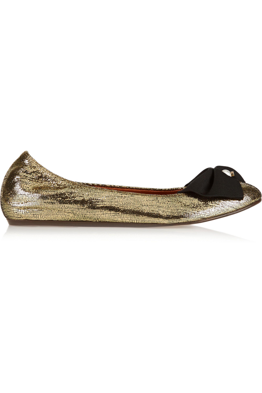 Lanvin Bow-embellished metallic leather ballet flats