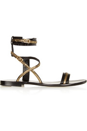 Metallic-trimmed leather sandals