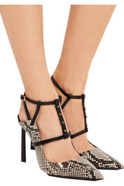 Python and leather pumps
