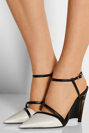 Two-tone leather wedge pumps