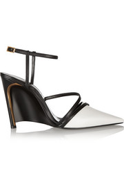 Lanvin Two-tone leather wedge pumps
