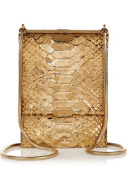 Evening metallic python shoulder bag