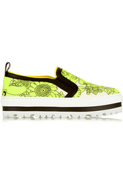 MSGM Floral-print neoprene slip-on sneakers