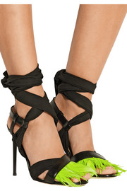 Feather-trimmed leather and poplin sandals