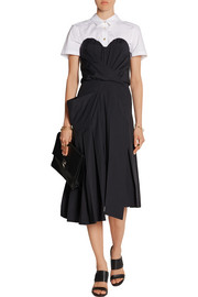 Strapless stretch-cotton poplin midi dress