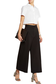 Cropped stretch-cotton poplin shirt