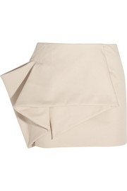 Folded stretch cotton-blend mini skirt