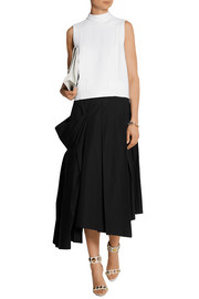 Pleated asymmetric stretch-cotton midi skirt