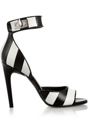 Shark Lock sandals in striped leather
