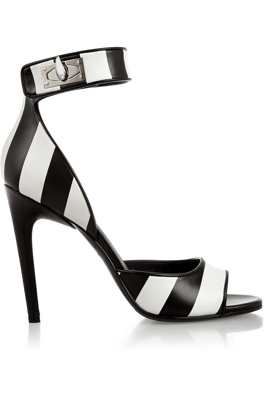 Givenchy Shark Lock Sandals in Striped Leather, Black, Women's US Size: 6, Size: 36.5